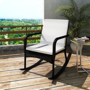 Schaukelstuhl vidaXl Poly aus Rattan in schwarz der auf einem Balkon steht