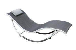 Leco Schaukelliege Style in schwarz, grau aus Aluminium und Kunststoffgewebe sehr Wetterfest