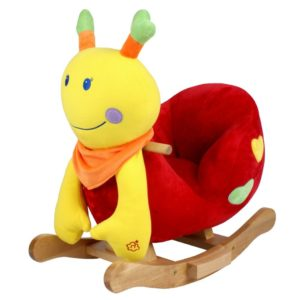 schaukelpferd Schnecke Emely aus Plüsch mit Musik in der Farbe gelb, rot, grün