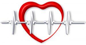 Rotes Herz mit einer herzfrequenz